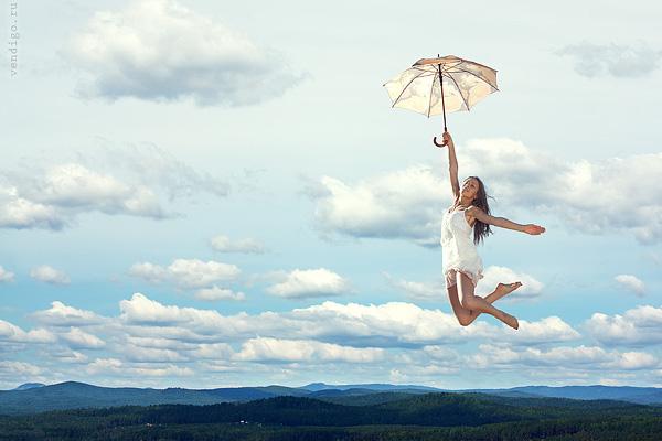 девушка на зонтике